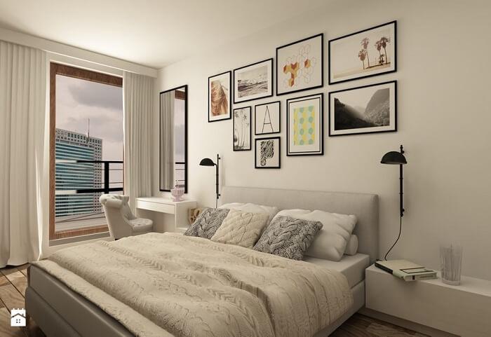 sypialnia w beżowych kolorach