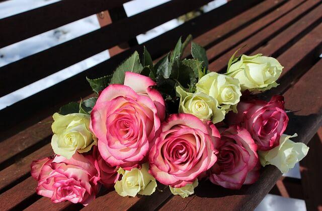bukiet kwiatów na ławce