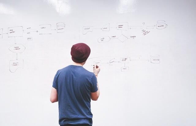 Człowiek stojący przy tablicy i rozpisujący schemat